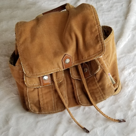 Fossil Bags   Authentic Small Backpack Tan Corduroy   Poshmark 723647f01e